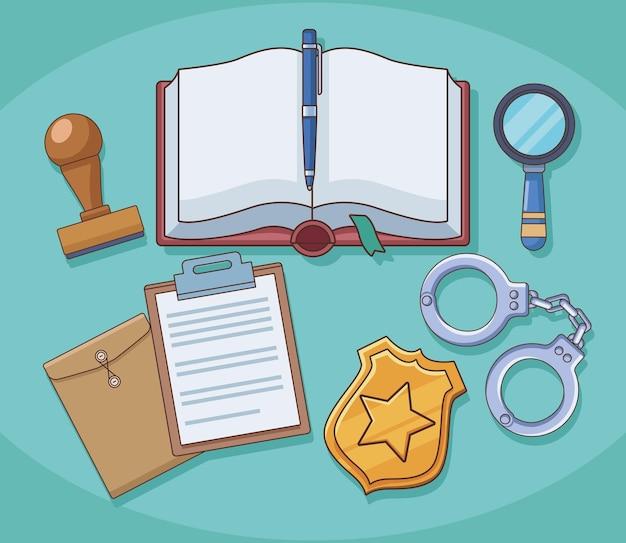 Justitie boek en wet pictogrammen