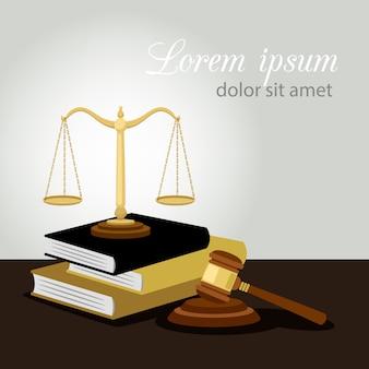 Justitie concept. rechtvaardigheidsschalen, rechterhamer en wetboekenillustratie, wettelijk en antimisdaadsymbool