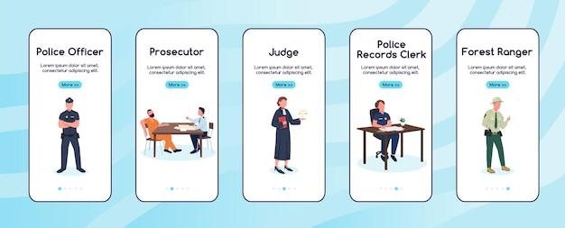 Justitie en justitie werken aan boord van platte schermsjabloon voor mobiele app
