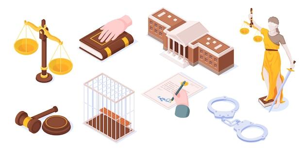 Justitie en wet juridische rechtbank isometrische pictogrammen set