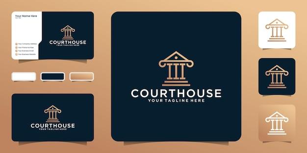 Justitie gerechtsgebouw logo in lijn kunststijl en visitekaartje