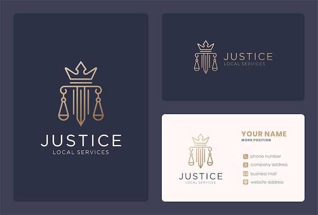 Justitie koning logo ontwerp met monogram stijl.
