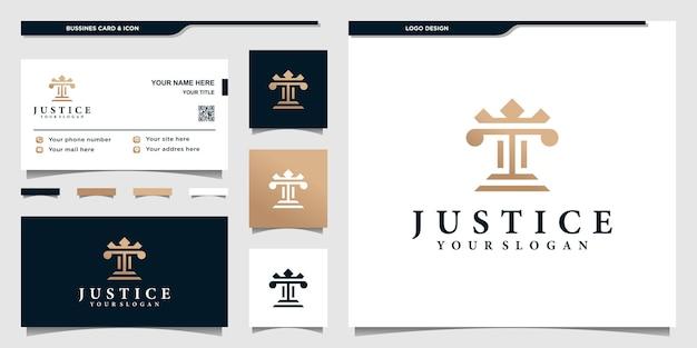 Justitie logo sjabloon met modern concept en visitekaartje ontwerp premium vector