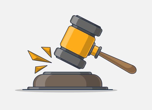 Justitie pictogram. een juridische hamer die een zaak voor de rechtbank sloeg.