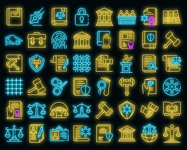 Justitie pictogrammen instellen. overzichtsreeks van rechtvaardigheids vectorpictogrammen neoncolor op zwart