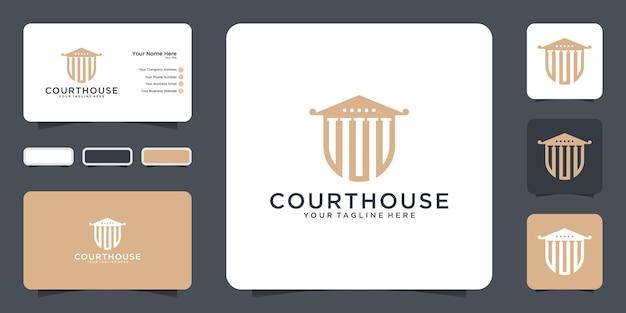 Justitie rechtbank huis logo voor advocaat, advocatenkantoor misdaad ontwerp en visitekaartje