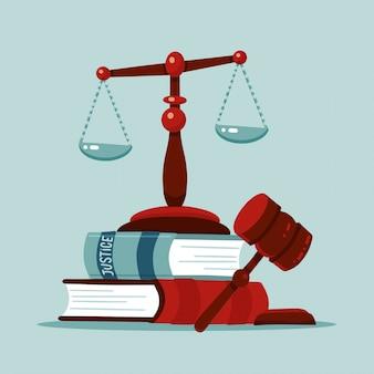Justitie schalen en houten rechter hamer concept. het teken van de wetshamer met wetboeken. wettelijk recht en veilingsymbool. klassieke hof weegschaal. platte vectorillustratie.