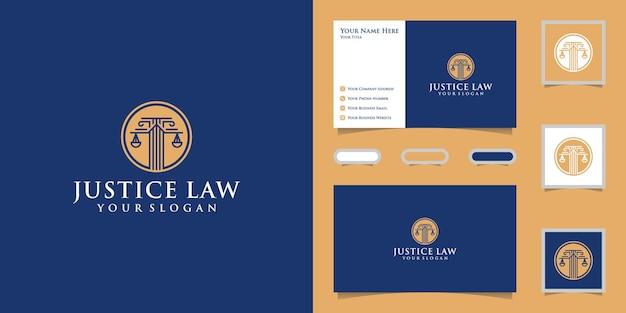 Justitie schalen logo met cirkel sjabloonontwerp en visitekaartje