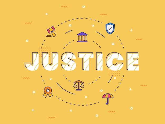 Justitie typografie kalligrafie woordkunst met gevulde kleurstijl