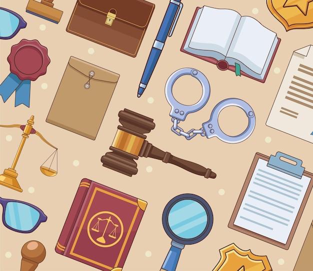 Justitie wet pictogrammen patroon