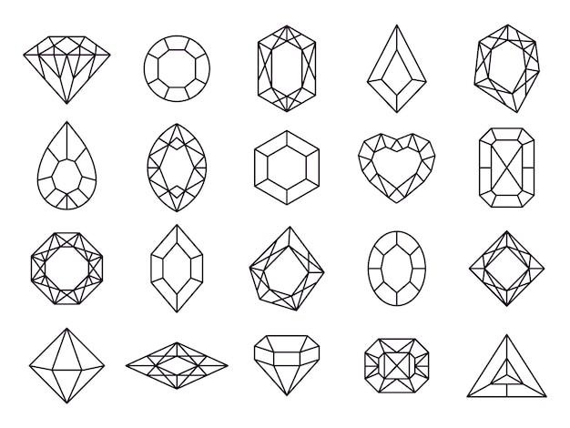 Juwelen diamant pictogrammen.