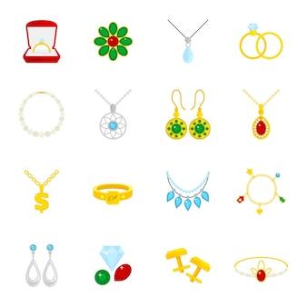 Juwelen plat pictogrammen set van diamanten goud mode dure accessoires geïsoleerde vector illustratie