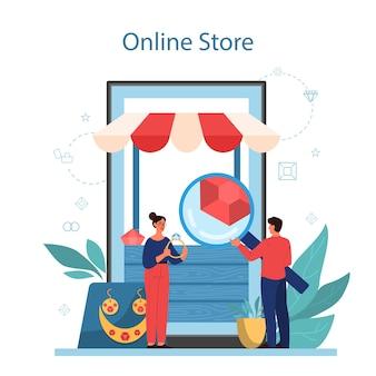Juwelier en sieraden online service of platform. persoon die met edelstenen werkt. online winkel. vector illustratie
