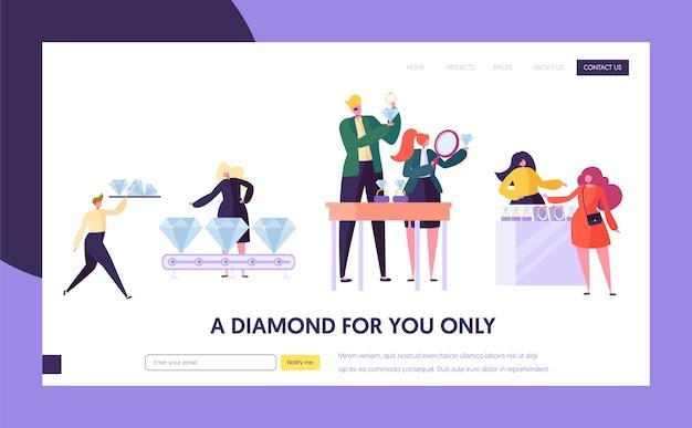 Juwelier verkoper houdt gem-bestemmingspagina vast. vrouw karakter kies luxe diamanten ring in de winkel. sieradenindustrie concept website of webpagina. bruiloft symbool platte cartoon vectorillustratie