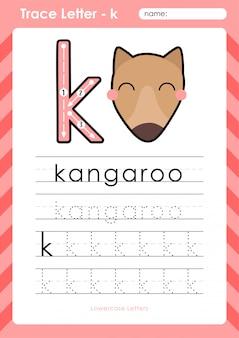 K kangoeroe: alfabet az tracing letters werkblad - oefeningen voor kinderen