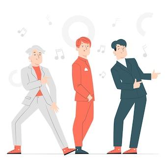 K-pop band concept illustratie