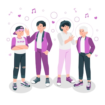 K-pop band concept illustratie