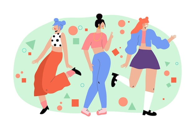 K-pop meidengroep illustratie