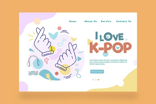 K-pop muziek bestemmingspagina sjabloon met illustraties