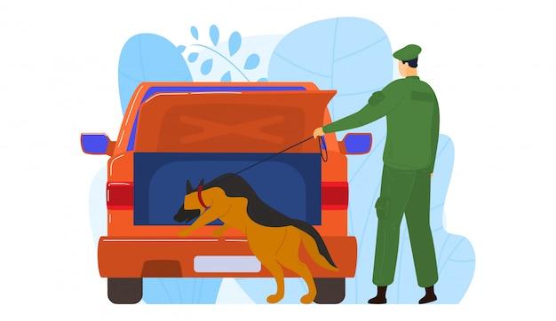 K9 militiehond officier, mannelijke karakter politieagent op zoek bewijs in criminele voertuig geïsoleerd op wit, cartoon afbeelding.
