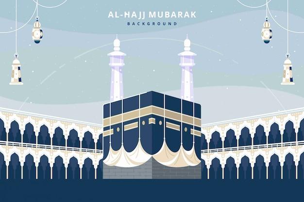 Kaaba landschap platte ontwerp achtergrond