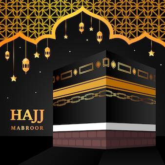 Kaaba voor hadj mabroor in mekka saoedi-arabië. bedevaart stapt van begin tot einde arafat mountain voor eid adha mubarak. islamitische achtergrond. hadj ritueel.