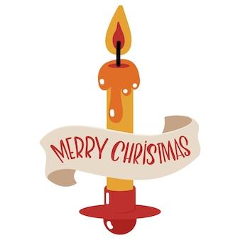 Kaars en vaandel met handgeschreven tekst merry christmas cartoon vectorillustratie geïsoleerd op