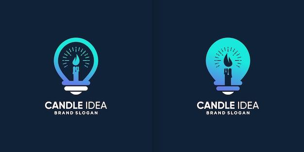 Kaars idee logo sjabloon met creatief abstract concept premium vector