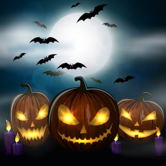 Kaars, kleurrijke enge halloween-illustratie.