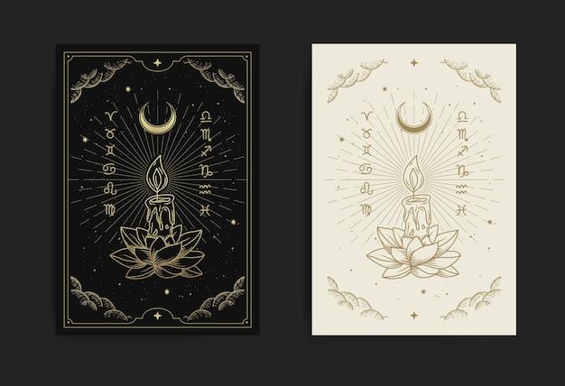 Kaars schijnt met lotusbloemen in de donkere symbolen van vriendelijke hoop, vrede, tedere harten, liefde en naastenliefde