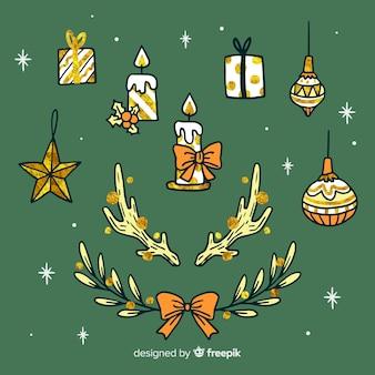 Kaarsen en globes hand getrokken kerstdecoratie