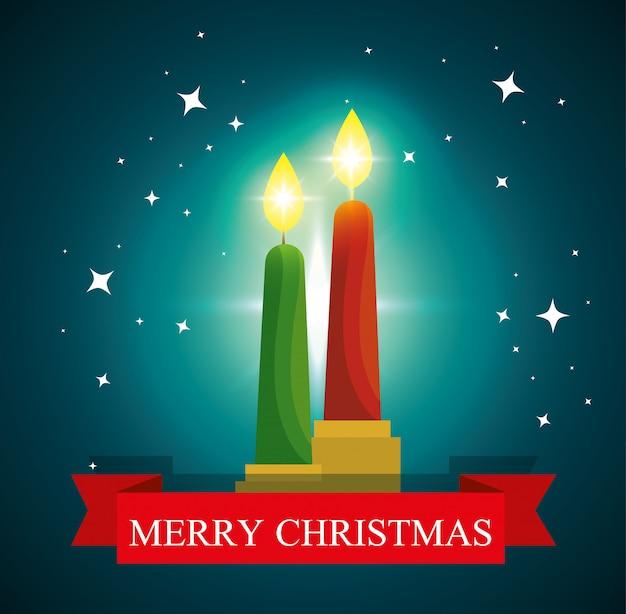 Kaarsen en sterren aan vrolijke kerstmisviering