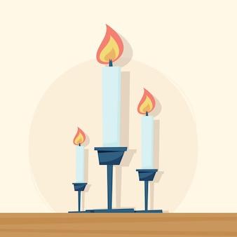 Kaarsen in kandelaars vlakke afbeelding