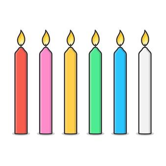 Kaarsen met brand vlam illustratie. brandende kaars en vlam plat