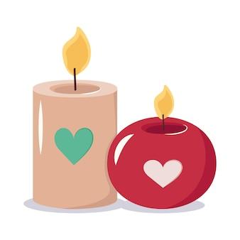 Kaarsen met hartenpictogram en decoratie voor valentijnsdag huwelijksvakantie
