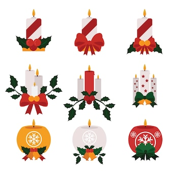 Kaarsen met lint en maretak plat ontwerp
