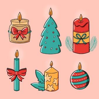 Kaarsen met schattig ontwerp en linten hand getrokken