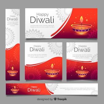 Kaarsen van diwali webbanners sjabloon