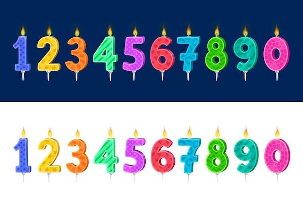 Kaarsen voor kinderen verjaardag vakantie cake cartoon set.