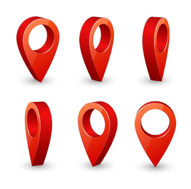 Kaart aanwijzer 3d-pin. locatie symbolen vector set geïsoleerd