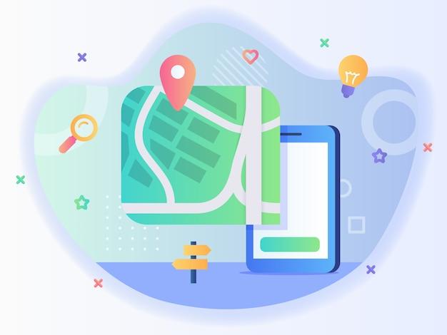 Kaart aanwijzer locatie op smartphone scherm concept van pick locatie met vlakke stijl vector ontwerp.