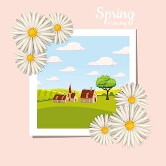 Kaart, boerderij, koe. landschap platteland, lentebloemen, paardebloemen, kamille Premium Vector