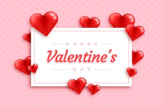 Kaart en harten valentijn realistische achtergrond