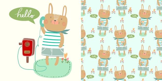 Kaart en naadloze patroon cartoon vector hallo kleine konijn jongen met telefoon.