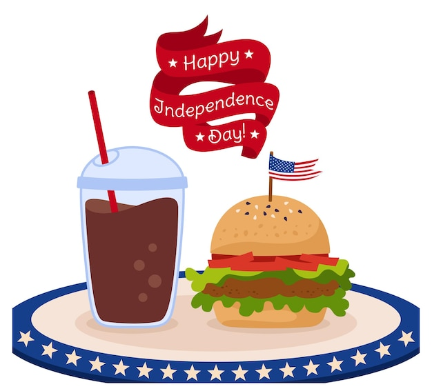 Kaart fastfood met vlag amerikaanse onafhankelijkheidsdag, lint hamburger en kopje koffie om usa vlag te gaan