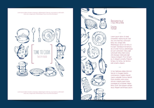 Kaart, flyer of brochure sjabloon voor keuken accessoires winkel of kooklessen met hand getrokken keukengerei