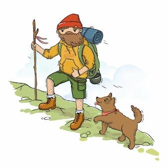 Kaart illustratie toerist met hond op de berg