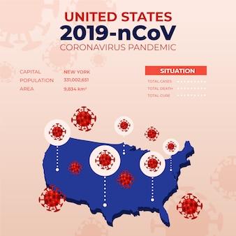 Kaart infographic met landen voor coronavirus