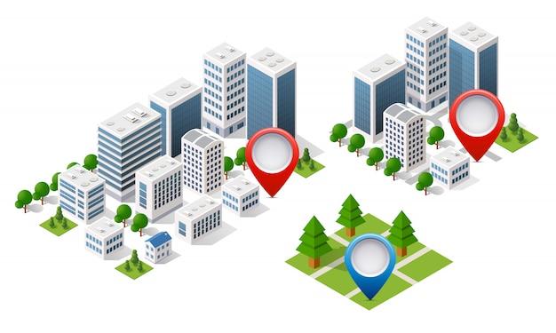 Kaart isometrische stad van navigator
