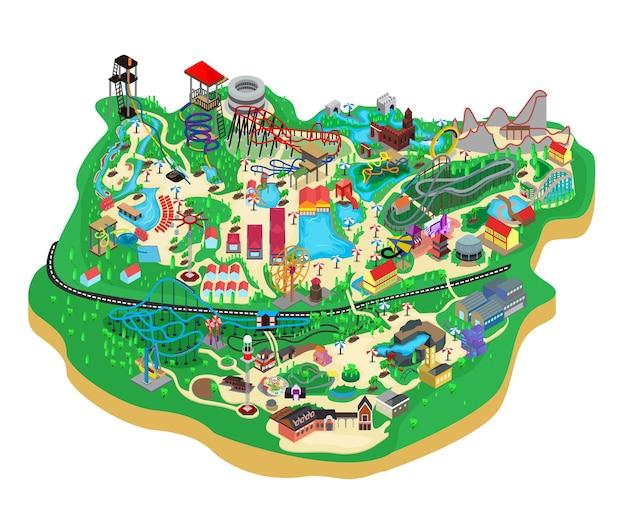 Kaart isometrische stijlillustratie van speeltuin voor kinderen en volwassenen